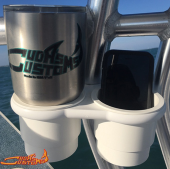 universal clamp-on double cup holder for boats